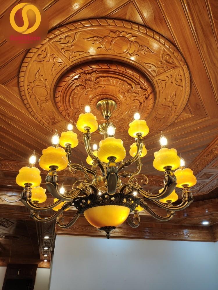 Đèn chùm đồng bát đá tự nhiên cao cấp trang trí phòng khách 8205T10+5