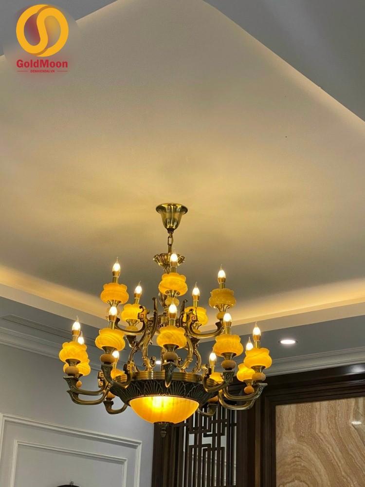 Đèn chùm đồng bát đá tự nhiên cao cấp trang trí phòng khách 8220T10+5