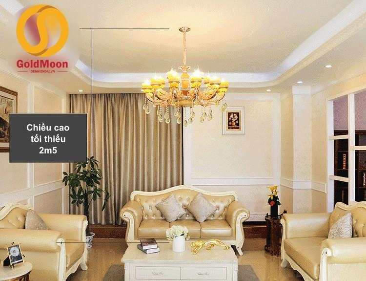 Đèn chùm tân cổ điển sang trọng, đèn chùm trang trí phòng khách giá rẻ 12 tay 8868T15