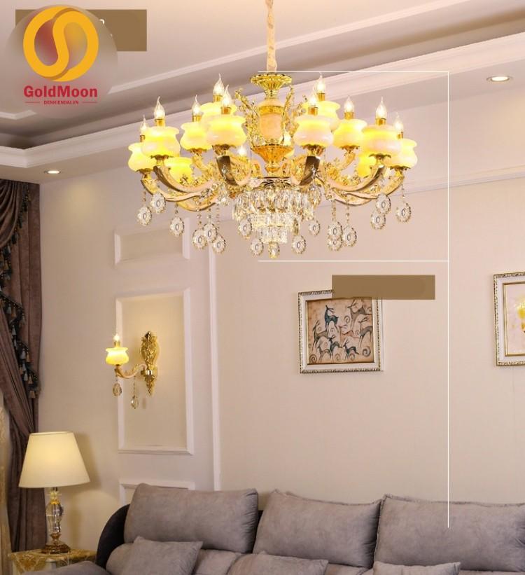 Đèn chùm tân cổ điển sang trọng, đèn chùm trang trí phòng khách giá rẻ 12 tay 8869T15