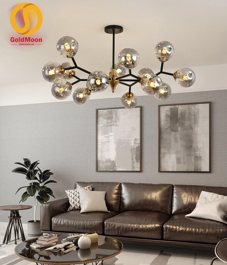 Đèn thả, đèn chùm phòng khách hiện đại, đèn thả bàn ăn 8 bóng khung vàng 33405