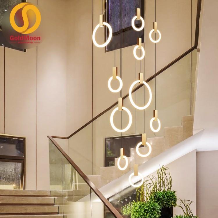 Đèn thả thông tầng pha lê, đèn thả cầu thang, đèn thông tầng biệt thự cao cấp, sang trọng 3902