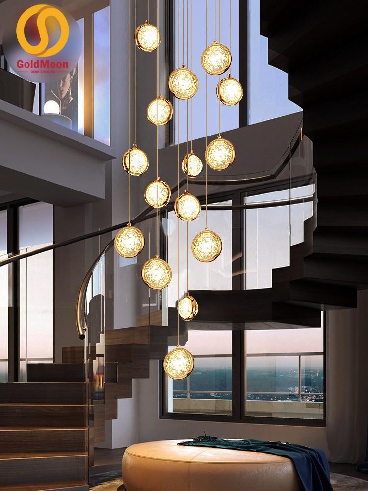 Đèn thả thông tầng pha lê, đèn thả cầu thang, đèn thông tầng biệt thự cao cấp, sang trọng 3917